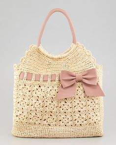 RED Valentino Leather and Crochet Raffia Tote Bag