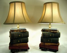 Pair of Book Lamps Antique Upcycled Books Silk Lamp by FirstandFig, $675.00