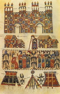 The Church Council of Toledo. Miniature with bishops and shops, from the Codex Emilianense, in the Library of The Escorial. Medieval World, Medieval Art, Medieval Manuscript, Illuminated Manuscript, Renaissance, Byzantine Art, Book Of Hours, Celtic Art, Romanesque