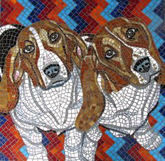 I want people to be able to be able to purchase the art they respond to on Dog Art Today. But when Anick Olmsted sent me these charming,. Mosaic Crafts, Mosaic Projects, Mosaic Designs, Mosaic Patterns, Glass Mosaic Tiles, Mosaic Art, Mosaic Portrait, Art Through The Ages, Mosaic Animals