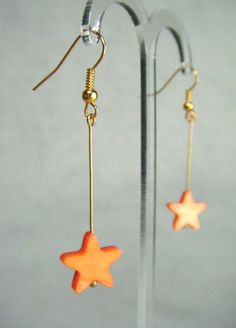 Mother of Pearl Star Drop Earrings - Tangerine - £5.50 at http://jewellerybyrebecca.co.uk/mpe009