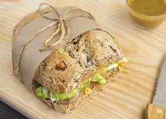 avocado, onion, apple, and honey mustard sandwich