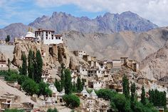 Lamayuru gompa and village in Zanskar valley. . . the collapsed lake is over the Gompa out of sight... underneath the Gompa is peppered with retreat caves in total darkness...