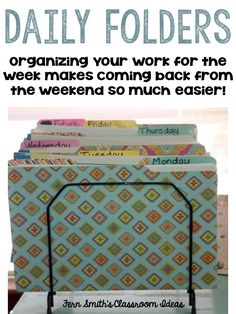 Fern Smith's Classroom Ideas organizing your students' work for the week in advance makes a teacher's life easier! (Five Minutes Activities) Classroom Organisation, Teacher Organization, Teacher Tools, Classroom Management, Teacher Resources, Classroom Ideas, Teaching Ideas, Organized Teacher, Classroom Libraries