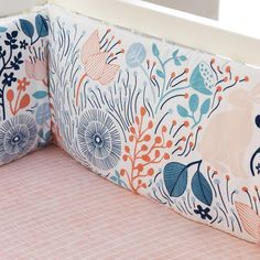"""Coral, navy, aqua, teal...plus there are bunnies! It's feminine, yet nature-inspired, and not pink-heavy. 