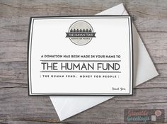 Seinfeld Christmas Card: A Donation Has Been Made In Your Name To The Human Fund - Blank Funny Greeting Graphic Design Card