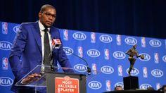 Winning MVP Surreal For Durant. Beautiful and heartfelt speech. Basketball Rules, Basketball News, Best Basketball Shoes, Basketball Association, Acceptance Speech, Kevin Durant, Espn, Singer, Celebrities