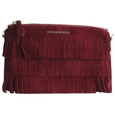 Pre-Owned  Burberry Peyton Burgundy Suede Crossbody Bag ($564) ❤ liked on Polyvore featuring bags, handbags, shoulder bags, burgundy, crossbody shoulder bag, suede fringe purse, crossbody handbags, red purse and burberry crossbody
