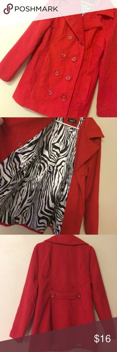 "Red Rue21 pea coat Polyester wool blend coat. Gently worn a few times last winter. Good condition!   Small mark on lower back side (4th photo). I'm sure it will come out with no problem once dry cleaned.  Silky zebra print lining.   Bust measures Approx 21"" across the front/approx 31"" length. Rue 21 Jackets & Coats Pea Coats"