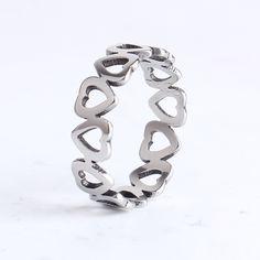 6mm hueco del amor del corazón de Acero Inoxidable 316l anillos de dedo para las mujeres de los hombres al por mayor