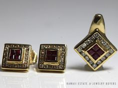 VINTAGE 14K YELLOW GOLD SQUARE RUBY & DIAMOND EARRINGS AND PENDANT 3 PC SET