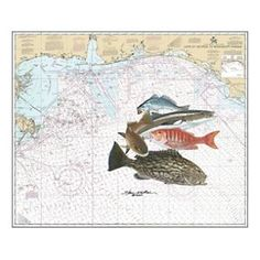 Steve Whitlock Nautical Chart Art - Nearshore Slam