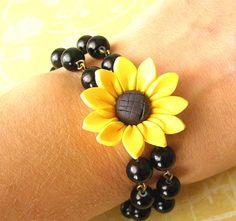 Flower Bracelet Sunflower Jewelry Pearl Bracelet by zafirenia, $29.00