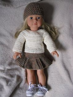 PDF Crochet pattern for jumper, skirt and hat set for 18 inch doll, American Girl doll or Gotz doll