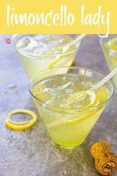 Limoncello Prosecco Cocktail Recipe - Limoncello Lady ~ Take Two Tapas Limoncello Cocktails, Prosecco Cocktails, Easy Cocktails, Cocktail Drinks, Cocktail Recipes, Drinks With Lemoncello, Martinis, Italian Cocktails, Gastronomia