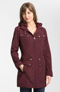 LAUNDRY BY SHELLI SEGAL PACKABLE ANORAK. A plethora of pockets and a detachable, toggle-cinched hood enhance the functionality to a water-resistant anorak. The lightweight style easily stows away in its own travel pouch.  +Front zip closure.  +Snap-tab collar closure.  +Front zip pockets; front vertical pockets; snap-flap chest pockets.  +Partially elasticized waist.  +Detachable snap tab in back.  +Toggle-cinch hem. $128.00