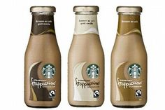"""This is another version of the packaging for the """"frappucino"""". the bottle is made of glass and the cork is in metal. The two materials are considered to be more noble than plastic because they last more in the time and glass is also fragile so """" precious"""". This version adopted a packaging with highest positioning because it is labeled Fairtrade by Max havelaar. We can see the recognizable logo in B&W"""