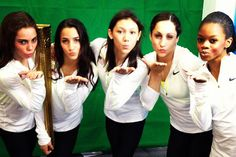 Fab Five with Olympic torch. I love these girls, they're so adorable! Can we all just be best friends pleaseeee
