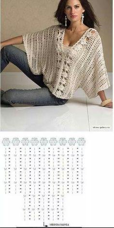 Crochet patterns free cardigan tunics charts ideas for 2019 Crochet Tunic Pattern, Gilet Crochet, Cotton Crochet, Crochet Cardigan, Crochet Shawl, Crochet Lace, Crochet Stitches, Crochet Quilt, Crochet Patterns