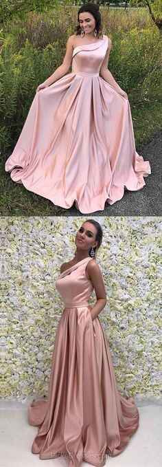 Pink Prom Dresses, Modest Prom Dresses For Teens, 2018 Prom Dresses Long , A-line Prom Dresses One Shoulder, Satin Prom Dresses Sashes / Ribbons