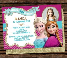 Frozen Birthday Invitation Frozen party Disney by LittleMsBuddha Frozen Birthday Invitations, Disney Frozen Birthday, Frozen Party, Frozen Backdrop, 3rd Birthday, Birthday Parties, Sesame Street Invitations, Chevron, Hello Kitty