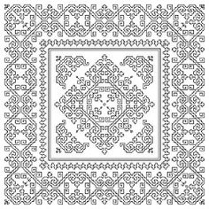 Blackwork. Free sewing pattern graph for cross stitch.