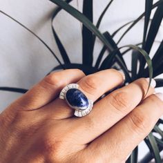 The inspiration for Nydra ring was a documentary that I recently watched about Tuareg tribe . Nydra ring is statement boho style ring with natural sodalite and sterling silver 925. Sodalite is one of my favorite materials, that rich royal bleu color with the white veins is really unique. It is a fully handmade item with natural stone so please allow for small variances from piece to piece ,the color and the shape of stone , as this is a feature of owning one of the kind original handmade…