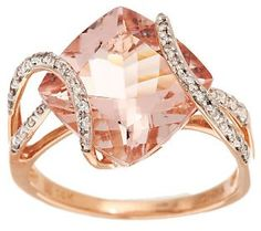 Premier 5.00 ct Cushion Cut Morganite & 1/4cttw Diamond Ring, 14K Gold