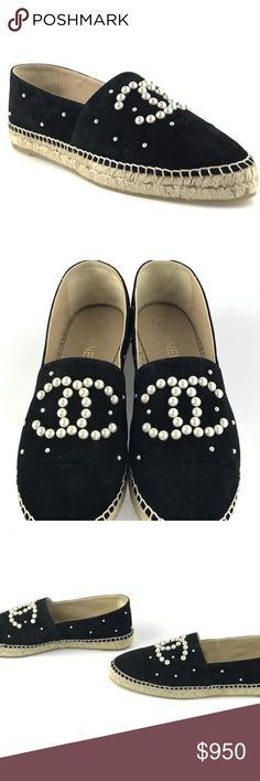 Chanel Black Suede Pearl Espadrilles Flats CONDITION New With Tags This item has original tags and shows no visible signs of wear.    DESCRIPTION Chanel Black Suede Pearl Espadrilles EU 42 Pearl detail and logo Black suede Double jute sole Box and dust bag included - box torn on one corner *Please note that EU sizing may run small*  SEE MY CLOSET MODELED ON IG: @MYCLOSETROCKS CHANEL Shoes Espadrilles