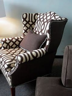 Wing Chair... not boring... like this idea for my chair and a half when I get around to reupholstering it myself