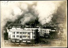 View of San Francisco on fire, 1906, SJSU Special Collections & Archive.