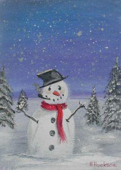 Tom the Snowman  Christmas Art Original Oil Painting 7 x5