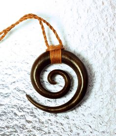 Wood Pendant  Double Spiral Necklace by PrimalOriginals on Etsy, $20.00