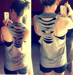 Classic and Crafty: DIY Workout Shirt. SO much better than the others, no knot in the back!