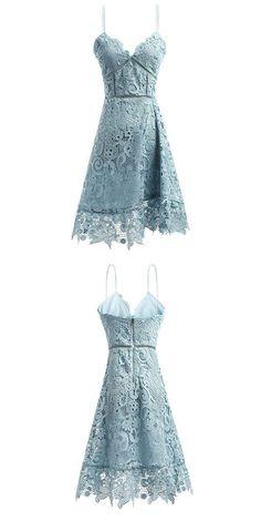 Spaghetti Straps Dresses,Blue Dresses,Lace Prom Dresses,Homecoming Dresses 2017,Short Dresses