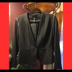 Black V-Neck Collar Blazer w/Metal Lining Features: one snap button, silver metal design on shoulders H&M Jackets & Coats Blazers