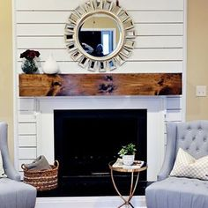 shiplap fireplace surround - Google Search