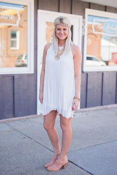 White Chiffon Pleated Dress