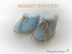 Baby Knitted Booties Desert Boot style Hand by DragonflyDownloads