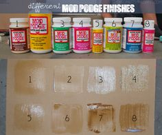 What the different finishes of mod podge look like -- great to know. Having trouble picking the perfect Mod Podge finish? This picture shows you the finish of 8 different kinds of Mod Podge on paper. Matte in the Dark Kids-Gloss Gloss ) Cute Crafts, Creative Crafts, Crafts To Make, Arts And Crafts, Diy Crafts, Stick Crafts, Burlap Crafts, Fabric Crafts, Craft Ideas