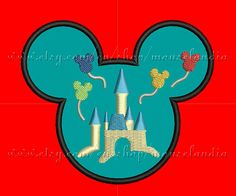 Cute mouse Castle Filled Head Applique Design 3 sizes 4X4, 5X7 and 6X10 Instant Download    THIS IS NOT AN IRON ON PATCH.    You must have an