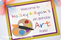 Art Party Welcome Sign (peasandthankyous.com)