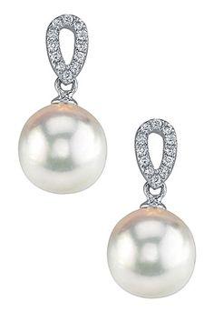14K White Gold 8-8.5mm White Japanese Akoya Pearl & Pave Diamond Loop Earrings