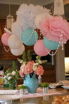 Tissue Flowers & Paper Lanterns in Pink and Blue are perfect for a gender reveal party Baby Gender Reveal Party, Gender Party, Shower Party, Baby Shower Parties, Bridal Shower, Idee Baby Shower, Tissue Paper Flowers, Festa Party, Partys