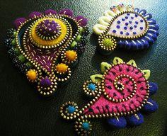 Zipper & felt paisley brooches