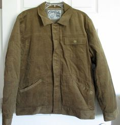 Men's Large Brown Corduroy Jacket by Chalc Faux Fur Lining Warm Winter Coat NWT