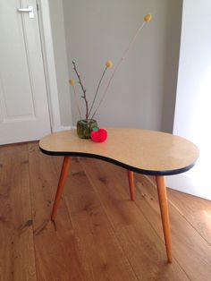 Vtg Large Coffee Table Tripod // Kidney Shape // Formica Table Top //