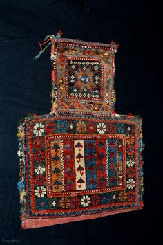 Colorful 19th century Small Afshar Saltbag ( namakhdan ).... All natural colors approx size 39x30 x Neck 20 cm