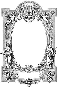 Today's free vintage image is a gorgeous frame border sourced from an old book cover containing sheet music. You get the border in JPEG and PNG format, as well Clip Art Vintage, Vintage Frames, Images Vintage, Vintage Labels, Vintage Stuff, Stock Art, Molduras Vintage, Vintage Illustration, Vintage Clip Art