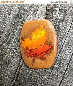 SUMMER SALE Copper Brooch Vintage orange  enamel maple leaf  design hand Crafted Hand Made Copper Enamel  Pin autum leaf